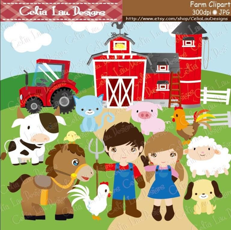 Farm Clipart Barnyard Clip Art CG041 Cute Barn Animals And