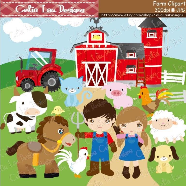 farm clipart barnyard clip art cg041 cute barn animals and rh etsy com barn yard clip art png barnyard clip art outline