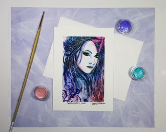 Watercolor Girl Greeting Card, Watercolour Art Portrait Note Card, Unique Handmade Card, Birthday Card, Thank You Card, Card for Friend, 5x7