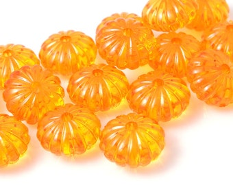 12 Lucite Pumpkin Beads 14mm x 9mm Golden Orange Pumpkins Sunny Light Orange Beads Fall Autumn Beads Halloween Supplies