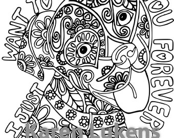 Love Me, Adorable, Happy Pup, 1 Adult Coloring Book Page, Printable Instant Download