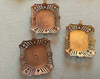 2 Large Vintage Brass Settings Nice Patina