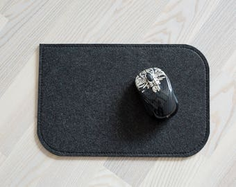 Mouse pad, dark grey felt 4mm