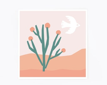 Affiche minimaliste, paysage désertique, désert, oiseau, cactus, paysage minimaliste, rose, collage, poster minimaliste, affiche scandinave