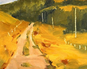 Small, Original, Oil Painting, Landscape, Country Road, Golden Field, Green Trees, 6x6 Canvas, Country Field, Western, Oregon, Northwest