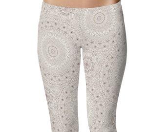Cream Printed Leggings, Off White Leggings, Boho Leggings, Stretchy Yoga Pants