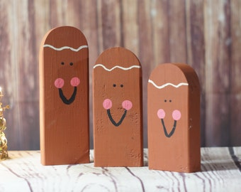 Wooden Gingerbread Man - Hand Painted Gingerbread Man  - Rustic Christmas Decor - Primitive  Wood Ginger Bread - Primitive Christmas Decor