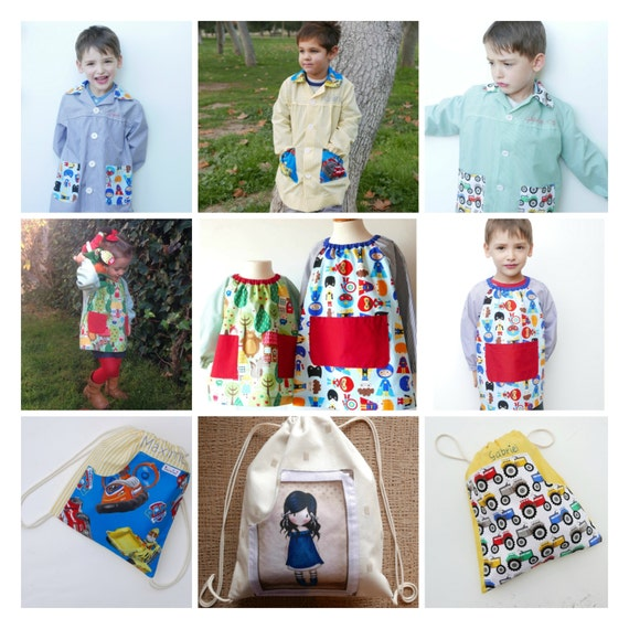 SCHOOL SMOCKS 6 months -7 yrs pattern PACK and Snack Bag, school ...