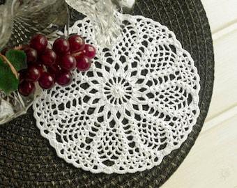 Crochet doily daisy 7 1/3 inches Small white handmade cotton lace doilies Small crochet doilies Crochet coaster Table decor details 410