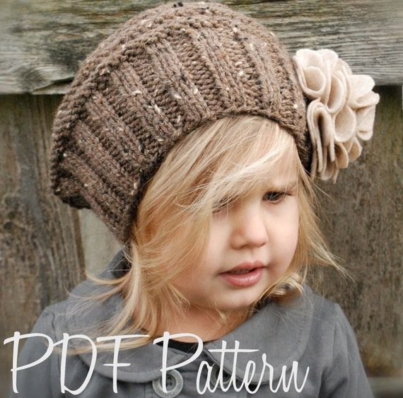 Knitting Pattern The Lilian Beret Toddler Child Adult
