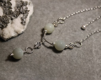 Moonstone and freshwater pearl necklace on sterling silver by EvyDaywear