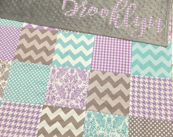 Teal Gray and Purple Minky Blanket