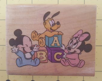 """Disney Rubber Stamp: """"BABY PLAYTIME"""" - with Minnie, Mickey Mouse and Pluto - Birth / Baby Announcement"""