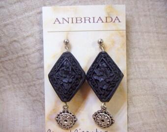 Carved Black Cinnabar Diamonds and Pewter Dangles Earrings Elegant