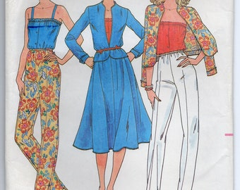 Jacket With Cardigan Neckline Shaped Hemline Loose Fitting Camisole Skirt And Pants Size 8 Sewing Pattern Butterick 6576