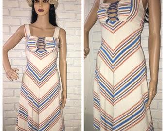 Vintage 70's Boho Lace-up Bust Dress
