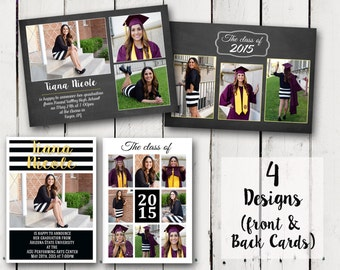 2 sided Girl Photo Graduation Announcements