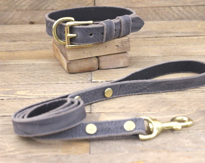 Set collar and leash, FREE ID TAG, Dog collar and leash, Grey stone, Brass hardware, Dog lead, Leather collar, Handmade leash.