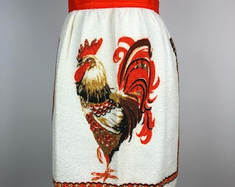 Vintage Half Waist Apron Turkey Thanksgiving Retro White Terry Cloth