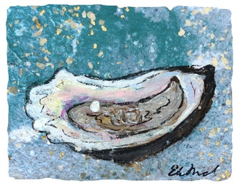 Louisiana Oyster PRINT matted to fit 11x14 standard frame