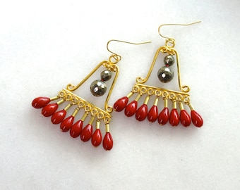 Extravagant Red Coral, Pyrite, 22k Gold Vermeil Roman Chandelier Earrings...