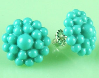 Vintage Turquoise Dotted Lucite Post Earrings