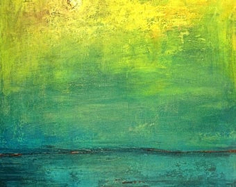 Abstract Vista Painting ORIGINAL Art Large Yellow Turquoise Modern  Art 36x30 by BenWill
