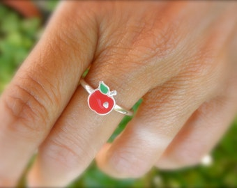 sterling silver enamel apple ring