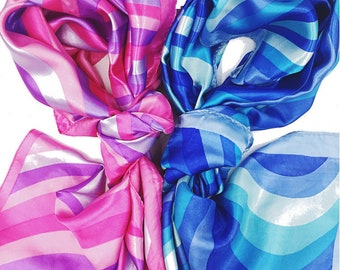 Womens Neck Head Scarf Scarves -- Pink And Blue