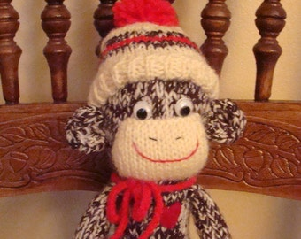 Knitted Sock  Monkey Doll