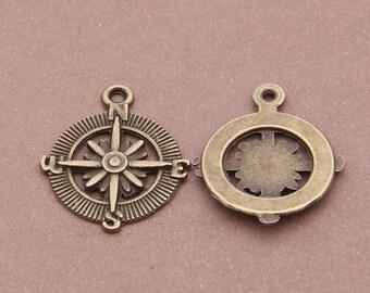 10pcs 29x25mm antique bronze compass pendants compass charms Y2309