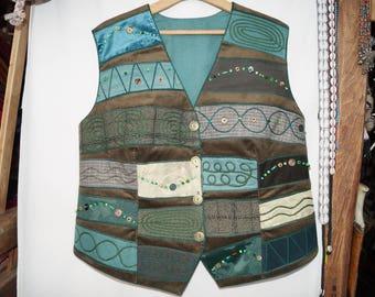 Green waistcoat, emroidered waistcoat, bohemian waistcoat, festival waistcoat, hungarian folk waistcoat, hippie waistcoat, boho waistcoat