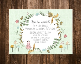Woodland Critters Baby Shower Invitation; Printable or set of 10