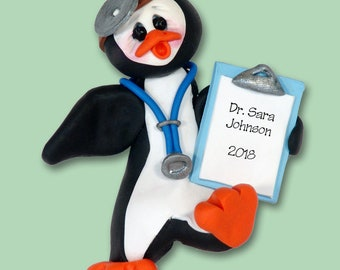 Petey Penguin Doctor HANDMADE POLYMER Clay Ornament - Limited Edition - Personalized Christmas Ornament
