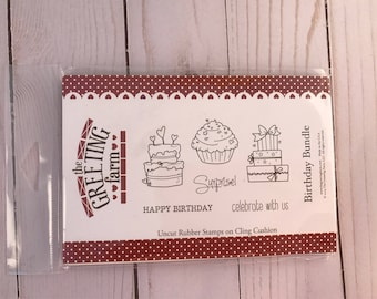 The greeting farm happy Birthday Bunddle rubber stamp