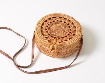 Handmade Textured Rattan Bag with Genuine Leather Belt