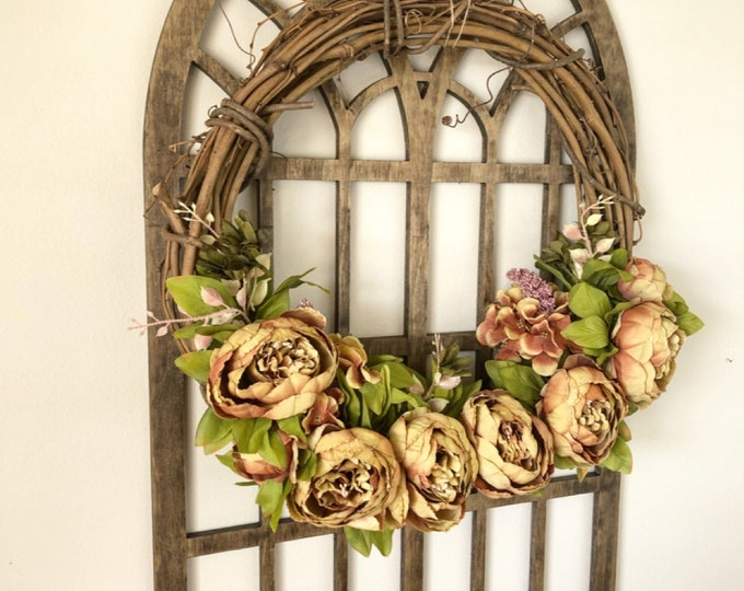 Wreaths for Front Door - Peony Wreath - Rust Peony Wreath - Fall Wreath - Summer Wreath - Front Door Wreath - Farmhouse Wreath