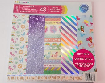 Stay Magical Enchanting Unicorn 12x12 Paper Pad 48 sheets by Craft Smith