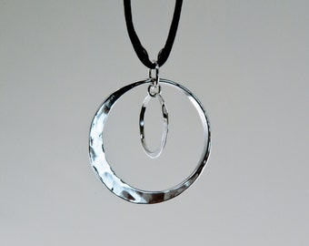 Double New Moon Pendant in Sterling Silver