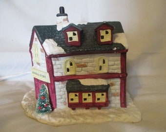 General Store by Seasonal Specialties 1991 Lighted Christmas House