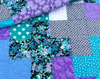 Modern Quilt,  Lap Quilt, Quilted Throw, Plus Quilt, Purple Quilt, Blue Quilt, Floral Quilts, Patchwork Blanket