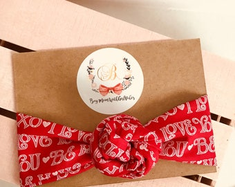 Valentines I Love You headwrap/headband one size