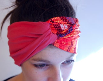 Headband Turban hair two-tone pink and Orange-pink mosaic Lycra and Cotton Jersey