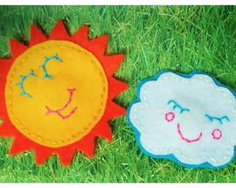 Sun and Cloud Felt Magnet Set | Magnet Set | Cute Magnet | Sun Magnet | Cloud Manet | Magnet Gift Set