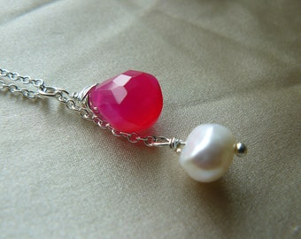 Hot Pink Chalcedony and pearl Cascade necklace