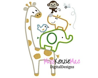 Baby Animal Safari Machine Applique Embroidery Design, 5x7 and 6x10 ONLY