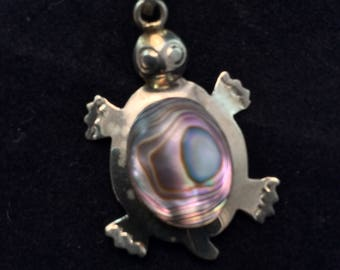 Vintage Southwestern  Mexico Alpaca Turtle Pendant with Abalone, Ladies Colorful Abalone Turtle Brooch, Alpaca Turtle Pin