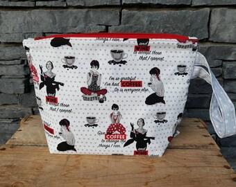 Project Bag | Knitting Bag | Knitting Project Bag | Zippered Project Bag | Wedge Bag | Shawl Knitting Bag | Coffee and Wine Ladies