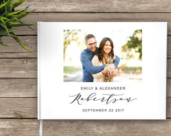 Photo Guest Book, Wedding Guest Book With Photo, Custom Guest Book, Wedding Journal, Modern Guest Book, Photo Wedding Guest Book