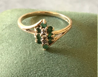 Vintage Emerald and Diamond Marquis Ring